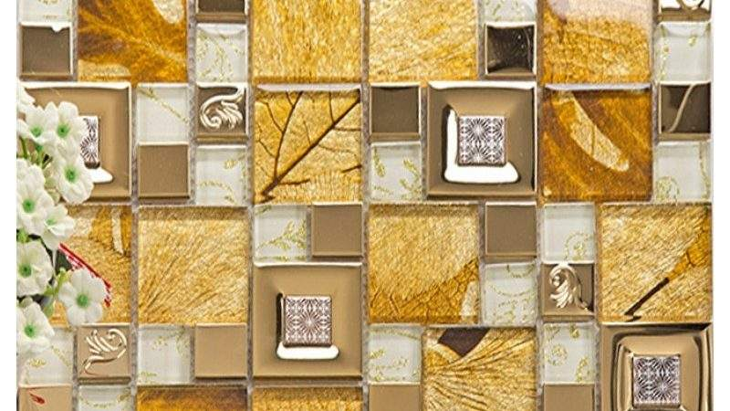 Gold Stainless Steel Tile Metal Tiles Yellow Crystal