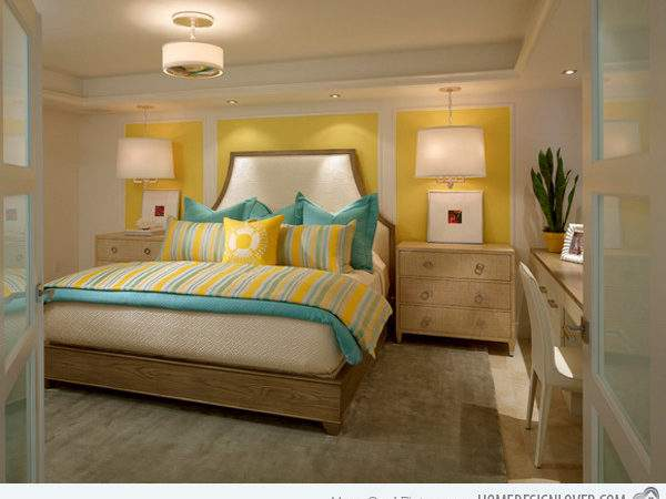 Gorgeous Grey Turquoise Yellow Bedroom Designs