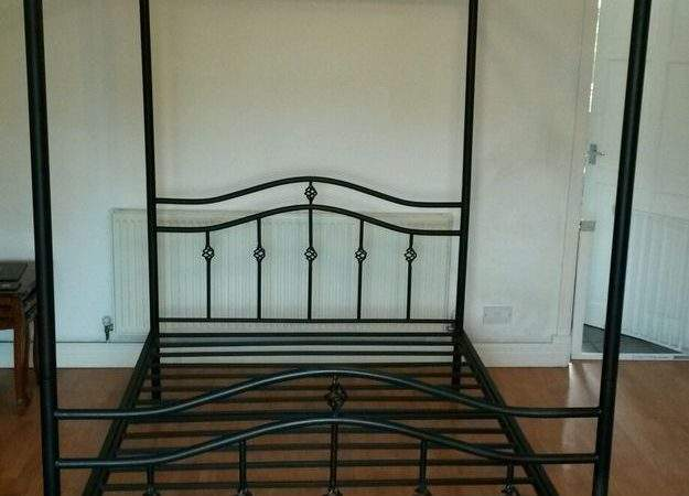 Gothic Black Metal Four Poster Double Bed Ebay