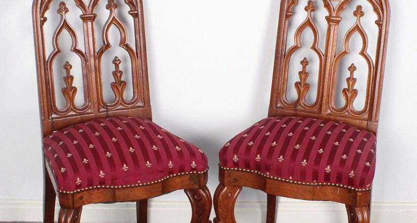 Gothic Revival Upholstered Dining Room Chairs Ebth