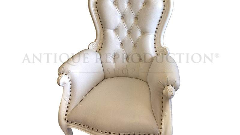 Grandfather Chair French Antique White Leather