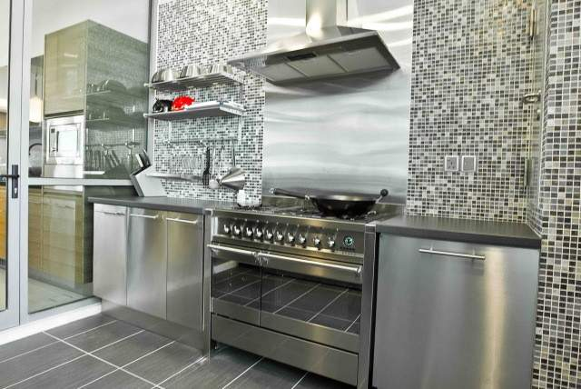 Gray Kitchen Cabinets Stainless Steel Appliances