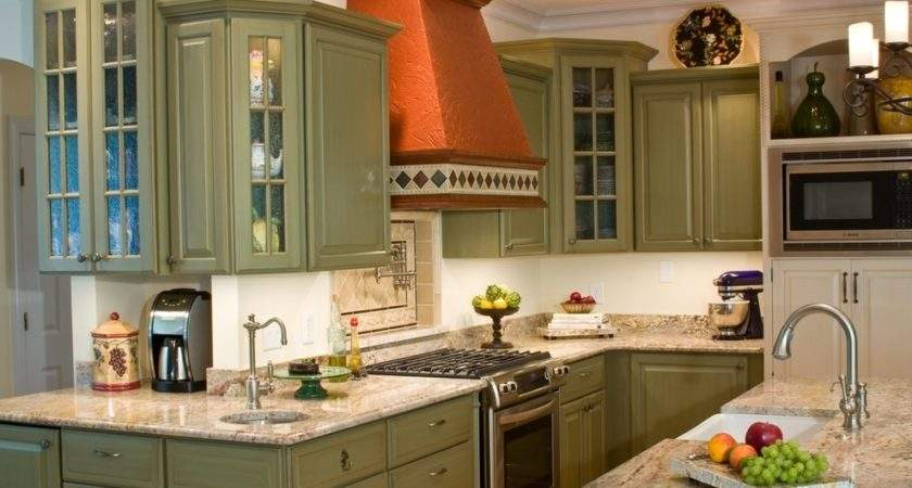 Green Kitchen Cabinets Traditional Bar Sink