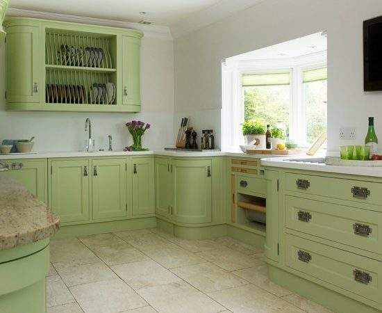 Green Painted Kitchen Storage Housetohome