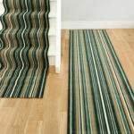 Green Striped Stair Carpet Runner Lima Kukoon
