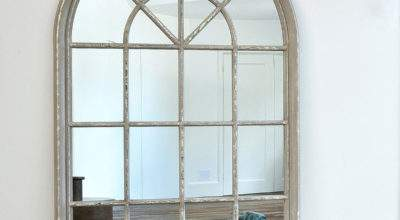 Grey Arched Window Mirror Primrose Plum