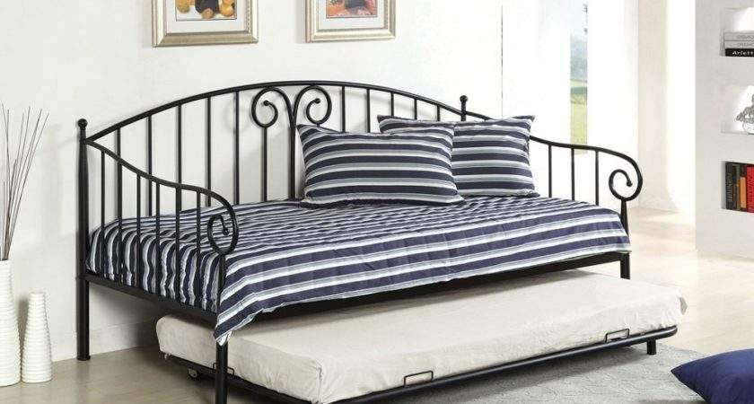 Hamden Black Metal Daybed Twin Trundle Link Spring