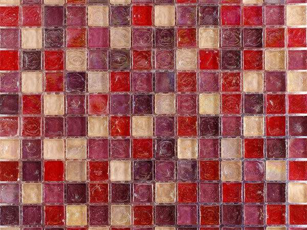 Hammered Pearl Pink Mosaic Glass Tiles Bathroom
