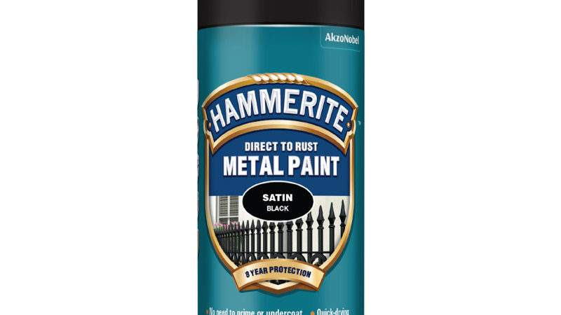 Hammerite Metal Paint Satin Black Aerosol
