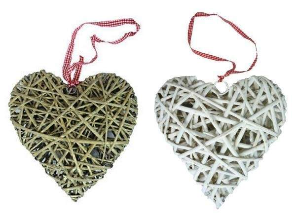 Hanging Wicker Heart Wedding Party Decoration Gingham
