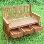 Hardwood Garden Bench Storage Drawers Home Design
