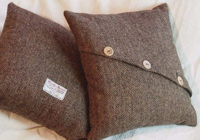 Harris Tweed Cushion Cover Wooden Buttons Folksy