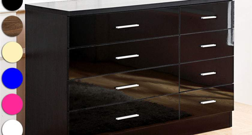 High Gloss Drawer Chest Bedroom Furniture