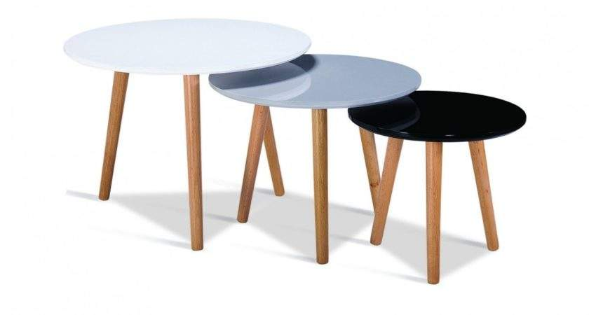 High Gloss White Black Grey Round Nest Tables