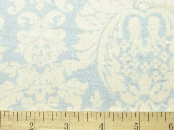 Honeymoon Cottage Fabric Blue French Country Damask Gloria