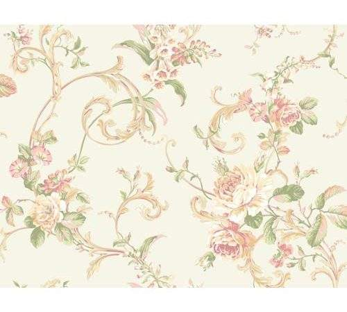 Hyde Park White Pink Green Tan Amber Floral Scroll
