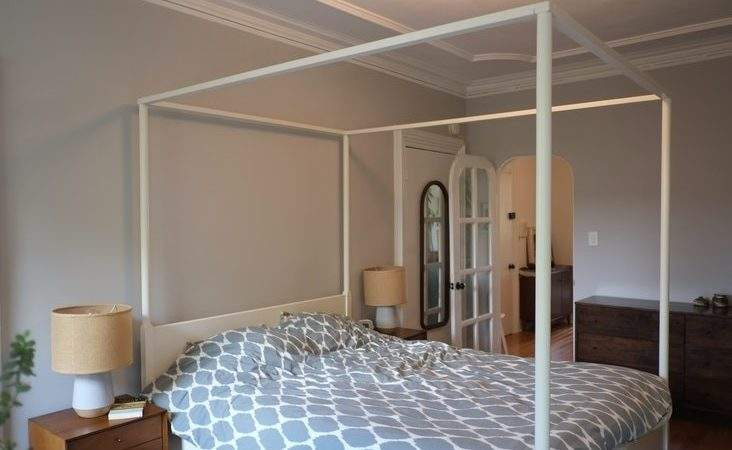 Ikea Edland Four Poster Queen Bed Frame White Carroll