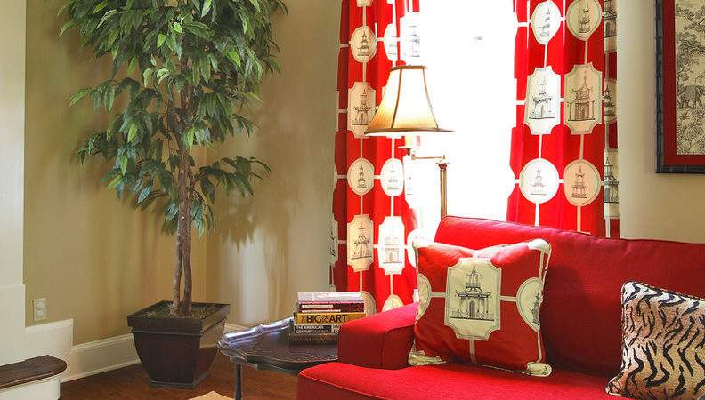 Impressive Bright Red Curtain Panels Decorating Ideas