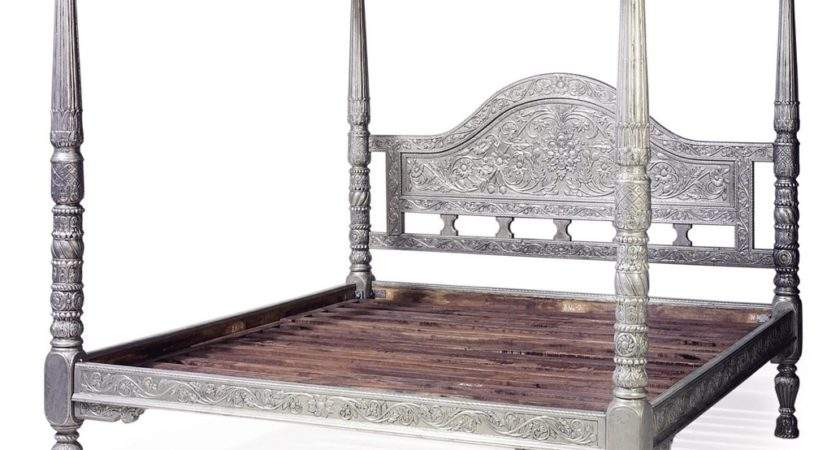 Indian White Metal Four Poster Bed Late Century