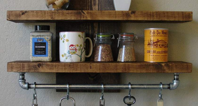 Industrial Rustic Kitchen Wall Shelf Spice Rack