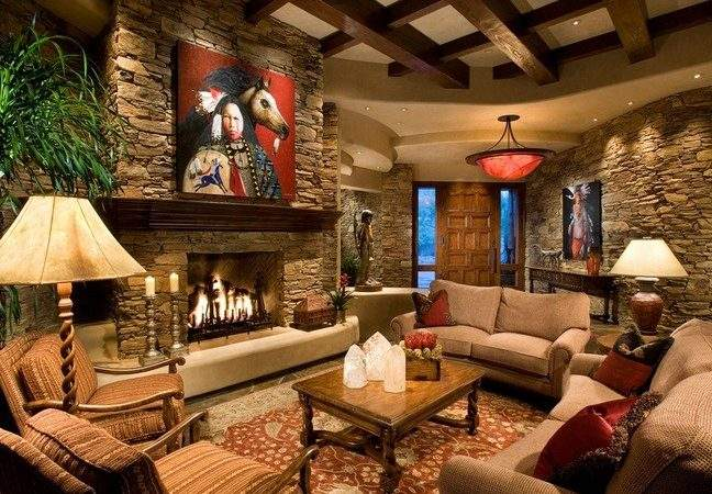 Interior Stone Wall Country Style Living Room