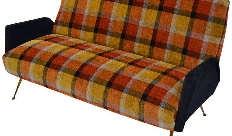 Italian Fifties Design Sofa Plaid Tartan Fabric