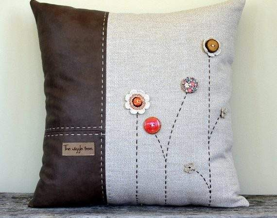 Items Similar Button Flowers Embroidered Cushion
