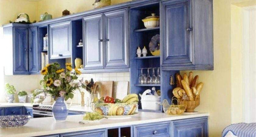 Kitchen Cabinet Painting Ideas Country Style Blue Color