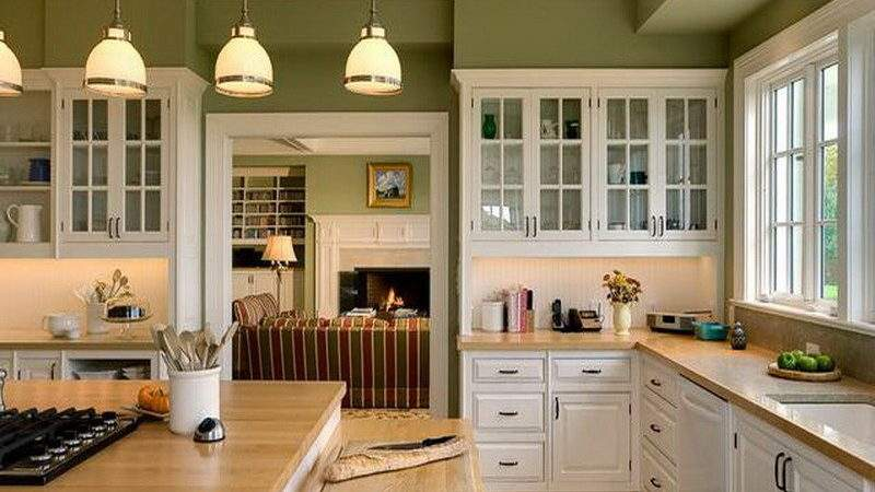 Kitchen Green Cabinets Pull Out