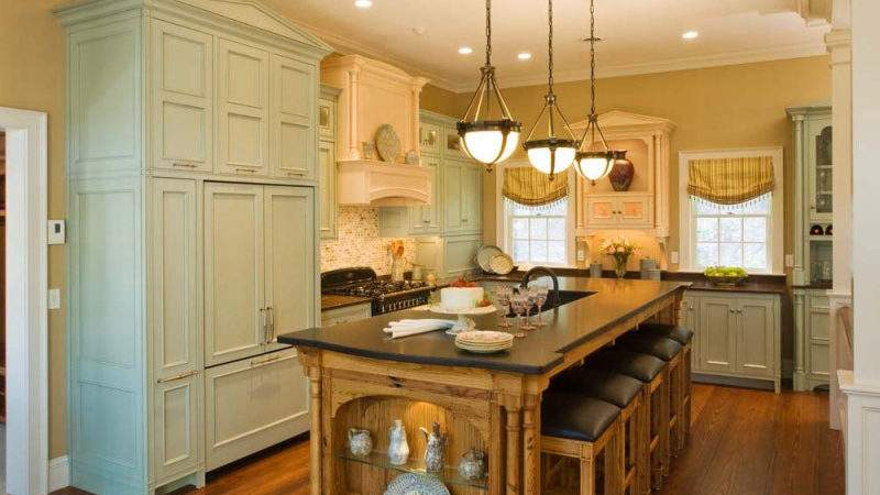 Kitchens Traditional Green Kitchen Cabinets