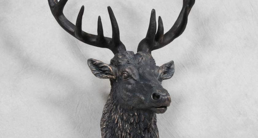 Large Antique Bronze Effect Stag Wall Head House Town