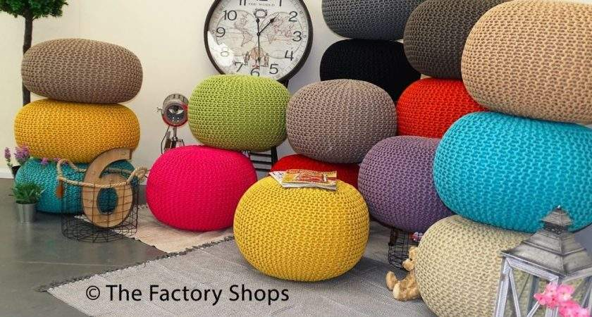 Large Chunky Knit Knitted Pouffe Foot Stool Cushion
