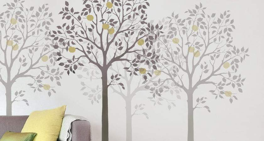 Large Fruit Tree Stencil Easy Reusable Wall Stencils