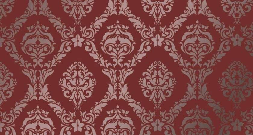 Large Wall Damask Stencil Pattern Faux Mural