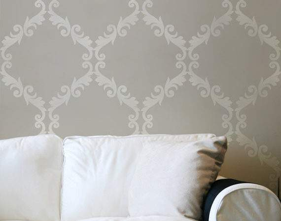 Large Wall Stencil Acanthus Trellis Allover Great