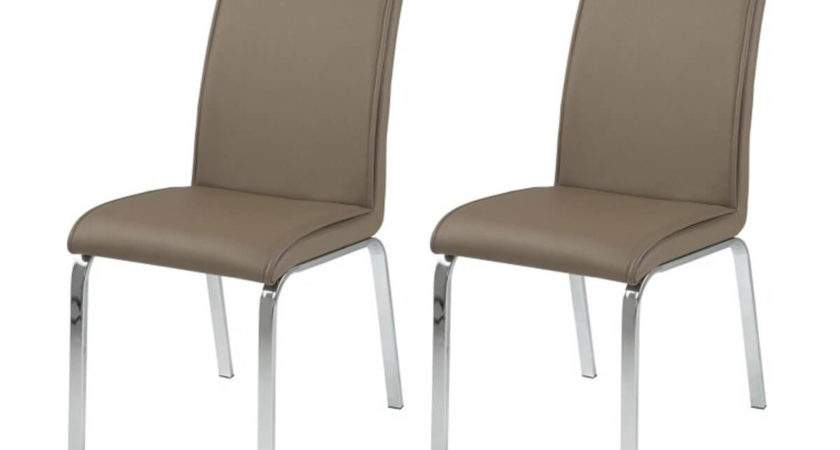 Leonora Taupe Faux Leather Dining Chairs