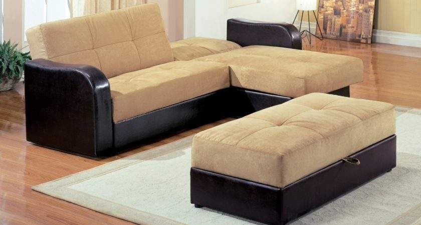 Light Brown Shaped Couch Bed Black Leather Base