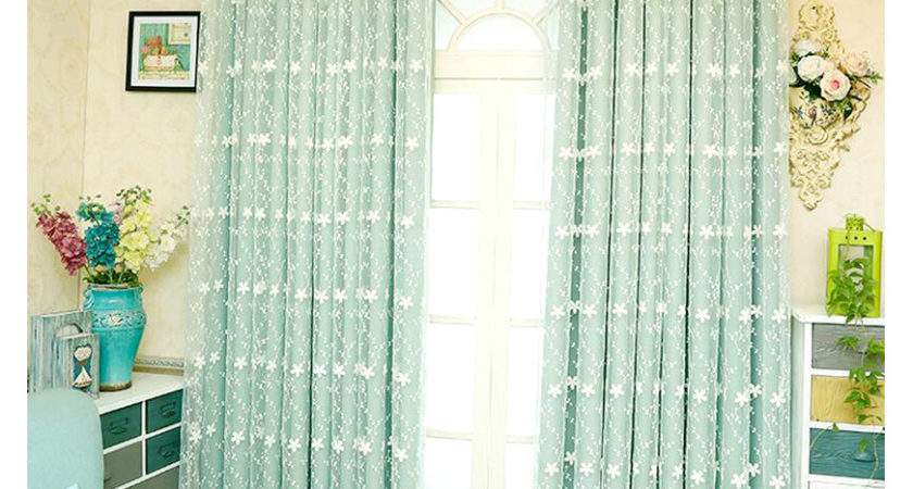 Light Green Lace Sheer Curtain Solid