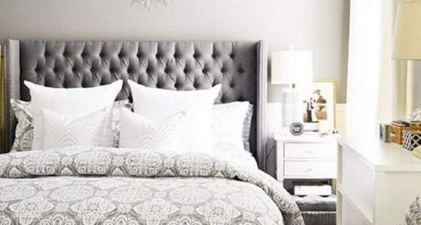 Light Grey Wall Color Silver Tufted Upholstered