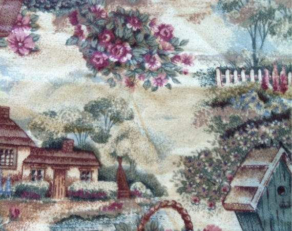 Light Weight Woven Cotton Fabric Country Cottage Yard