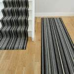 Lima Black Grey Stripe Custom Length Stair Runner