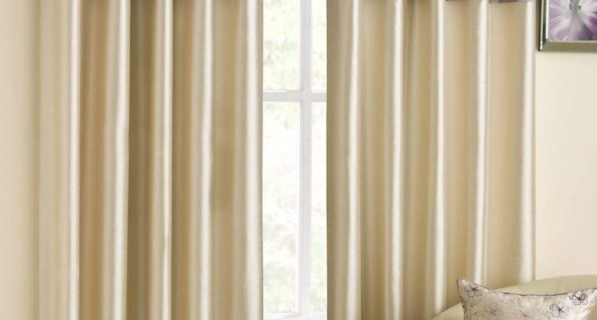 Lined Eyelet Curtains Faux Silk Ready Made Ring Top