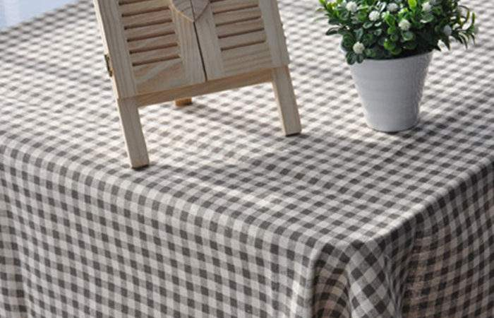 Linen Lace Tablecloth Table Cover Brown Plaid Cloth