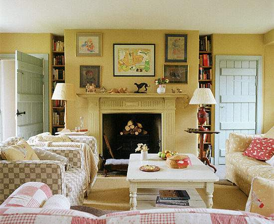 Living Room Country Style Checks Ideal Home