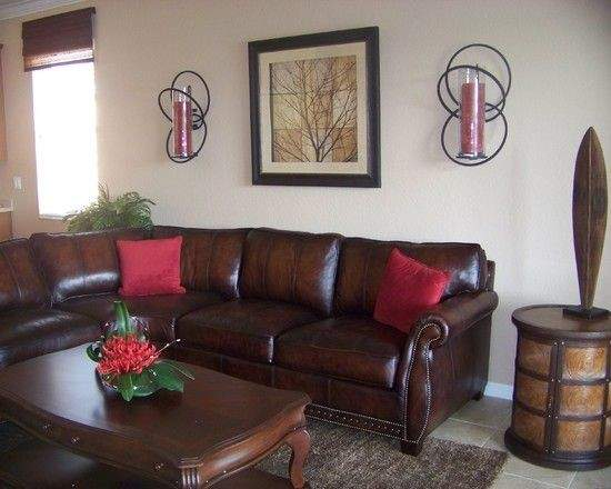 Living Room Design Ideas Brown Leather Sofa Artsy Red