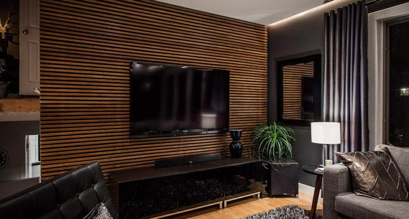 Living Room Grating Shaped Wood Feature Wall