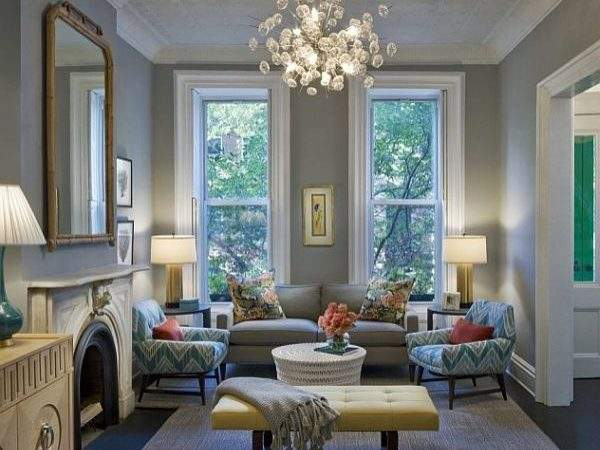 Living Room Grey Sofa Turquoise Accents