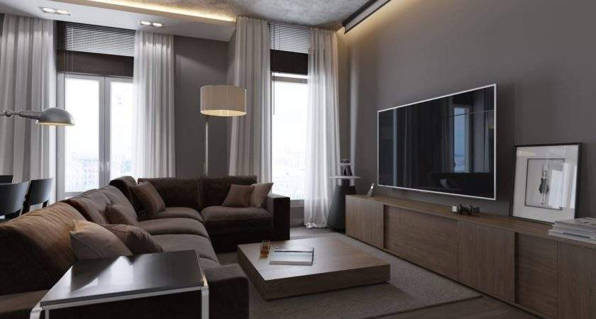 Living Room Grey Walls Brown Furniture High Window Glass