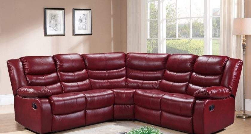 Lothian Corner Sofa Recliner Cranberry Red Bonded Leather