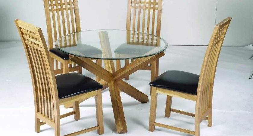 Lpd Oporto Solid Oak Legs Glass Top Round Dining